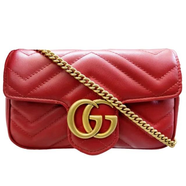 【GUCCI 古馳】476433 經典Marmont系列仿舊金色GG LOGO牛皮山字紋MINI款手拿/腰包/肩背/斜背包(紅色)