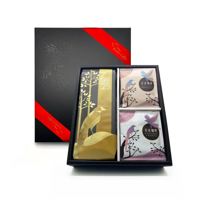 【Krone 皇雀咖啡】精選薩摩爾一磅咖啡豆+阿拉比卡濾掛咖啡12入(時尚禮盒組)