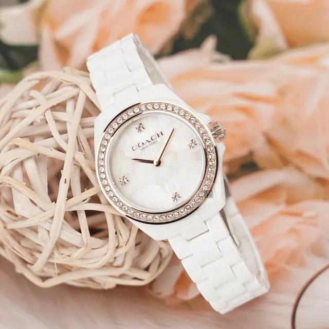 【COACH】花兒晶鑽陶瓷女錶-34mm(14503662)