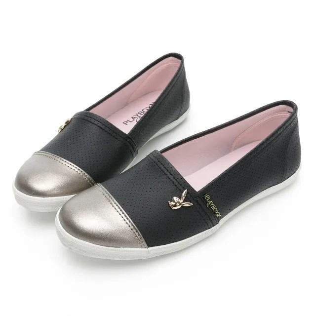 【PLAYBOY】韓系小清新 皮革娃娃鞋-黑-Y7210CC
