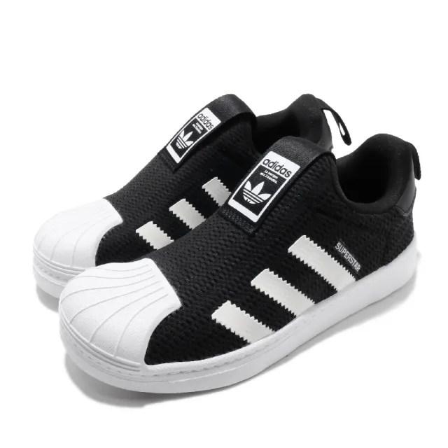 【adidas 愛迪達 】童鞋 休閒鞋 Superstar 360 C 襪套   愛迪達 三葉草 貝殼頭 親子鞋 中童 黑 白(EF0891)