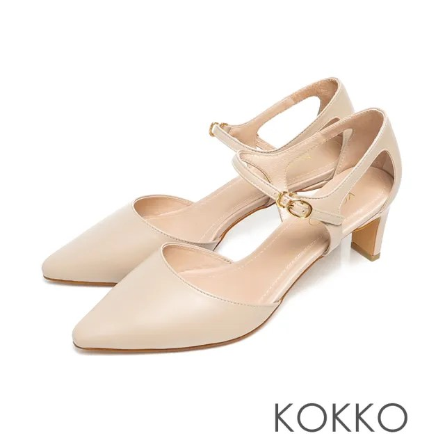 【KOKKO 集團】優雅尖頭小羊皮扁細帶鏤空跟鞋(裸奶茶)