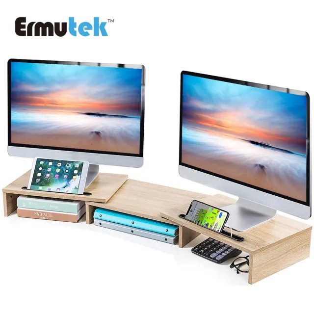 【Ermutek】多功能桌上型雙螢幕增高架/可調式LCD電腦螢幕收納架/桌上收納空間整理螢幕置物架(橡木紋)