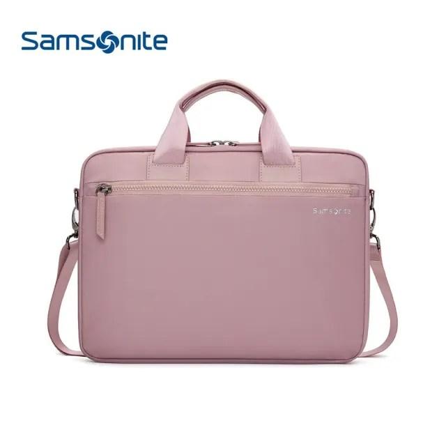 【Samsonite 新秀麗】13.3吋 筆電手提包 附肩背帶 DENDI-ICT BP5*002 櫻花粉色(電腦包)