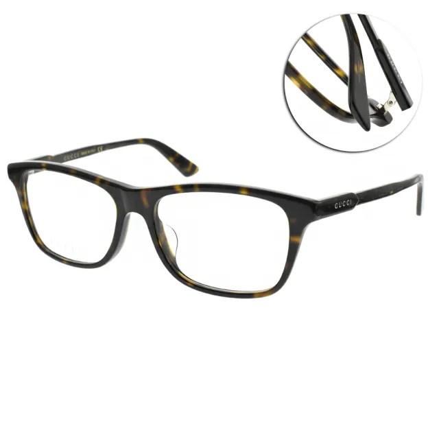 【GUCCI 古馳】光學眼鏡 摩登方框款(琥珀棕#GG0574OA 002)