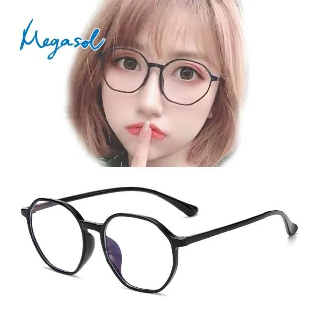 【MEGASOL】抗UV400濾藍光時尚男女仕中性老花眼鏡大框手機眼鏡(多邊形大圓膠框JFY-3002老花)
