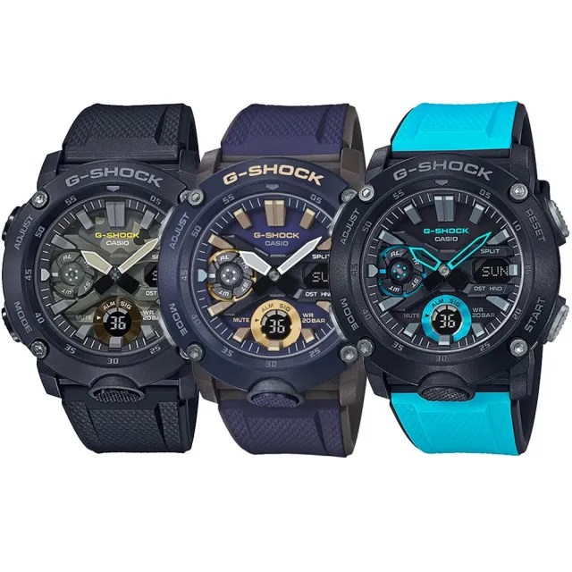 【CASIO 卡西歐】G-SHOCK 碳纖維防護雙顯手錶(GA-2000/GA-2000S/GA-2000SU/GA-900系列)