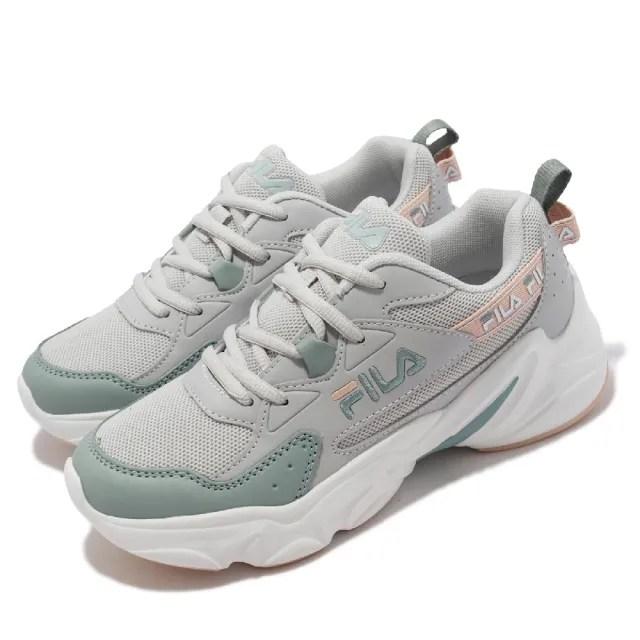【FILA】休閒鞋 Hidden Tape 2 厚底 老爹鞋 女鞋 斐樂 修飾線條 穿搭推薦 皮革鞋面 灰 綠(5J929V166)