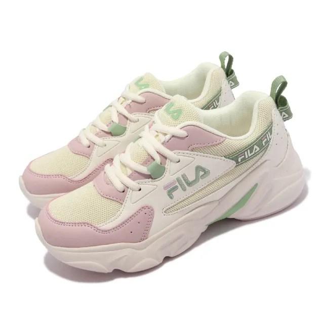 【FILA】休閒鞋 Hidden Tape 2 厚底 老爹鞋 女鞋 斐樂 修飾線條 穿搭推薦 皮革鞋面 白 綠(5J929V155)