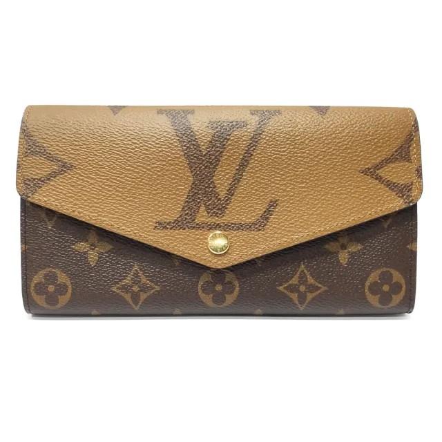 【Louis Vuitton 路易威登】M80726  經典Sarah系列 Reverse Giant帆布雙色信封式掀蓋長夾/錢包(雙色)