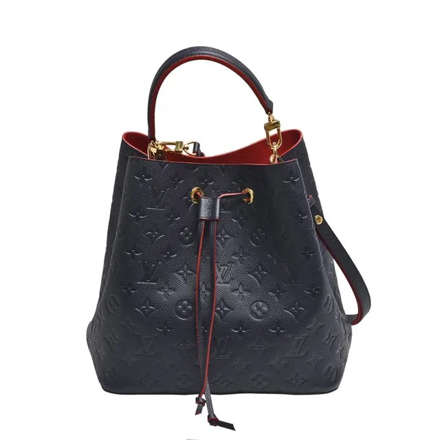 【Louis Vuitton 路易威登】M45306經典Neonoe系列Empreinte皮革撞色束口斜背/肩背水桶包(海軍藍/紅色)