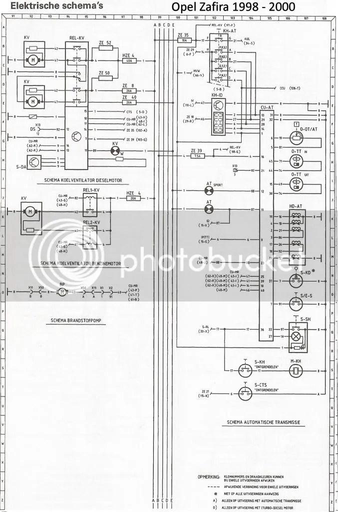 Elektrische schema Opel afira 1998 – 2000