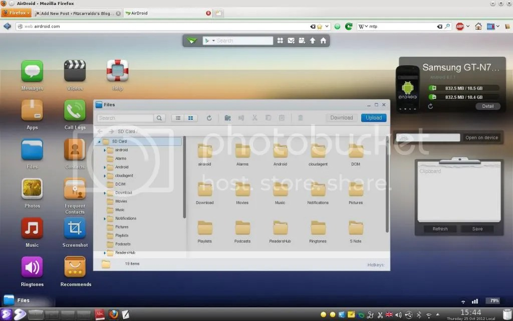 AirDroid in Firefox on my laptop