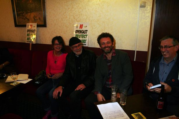 Michael Sheen at a meeting of the United Valleys Action Group