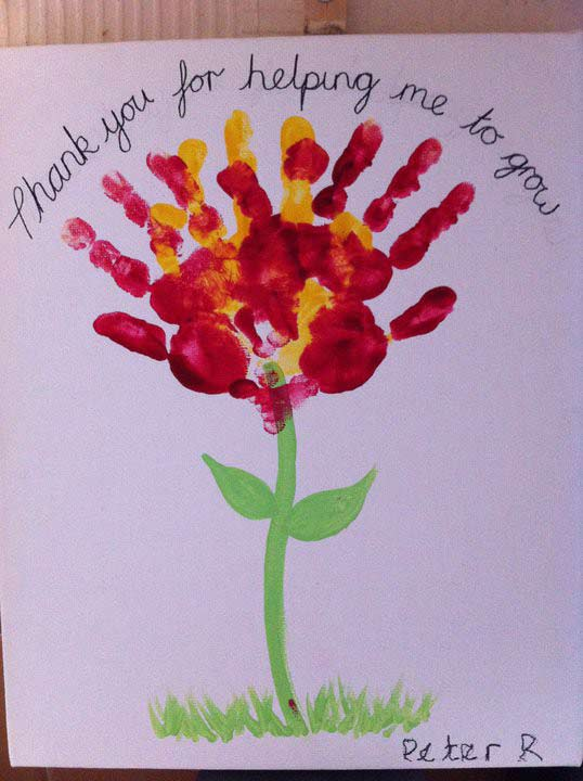 Hand print flower card for teachers from our post last minute handmade teacher   day also awesome ideas with free printables rh artsycraftsymom