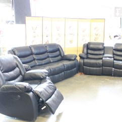 Leather Power Reclining Sofa And Loveseat Sets High Density Foam For In India Brand New Black Set