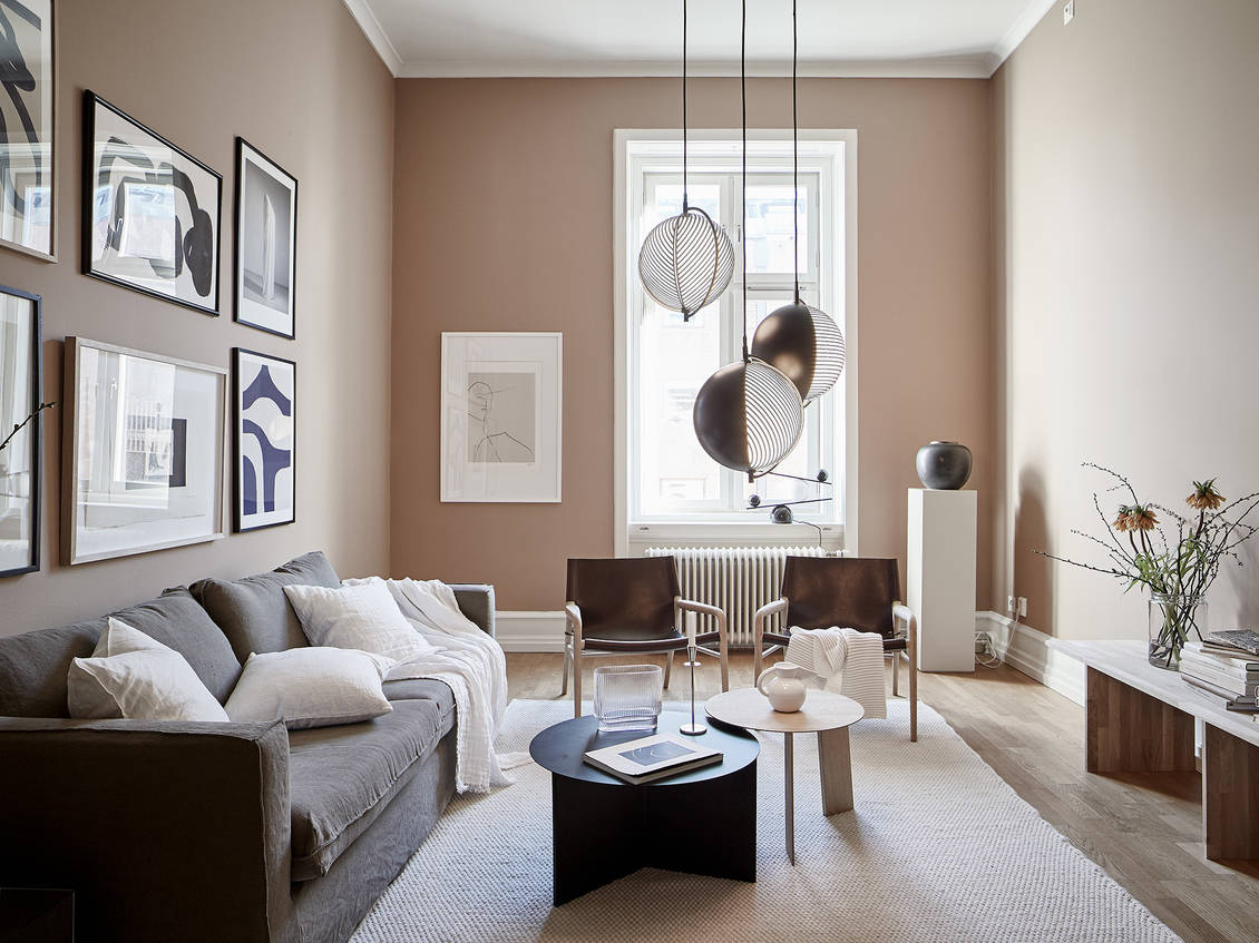 Beautiful nude pink living room  COCO LAPINE DESIGNCOCO