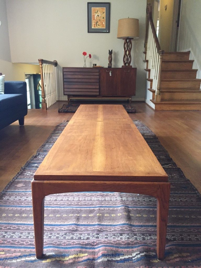 vintage mid century modern walnut cocktail table from lane s rhythm collection epoch