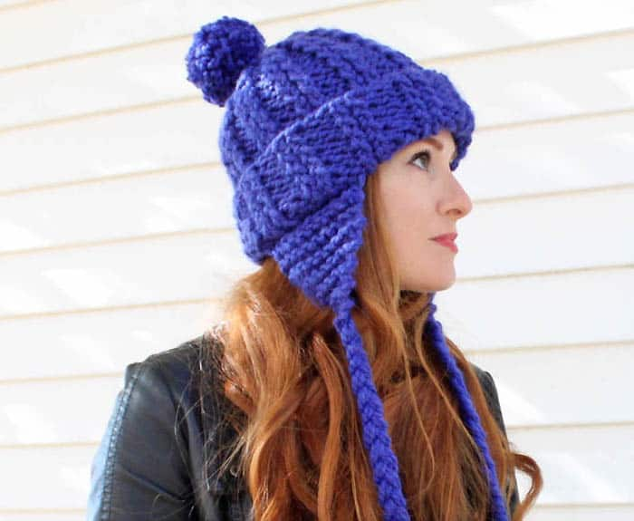 Knitted Earflap Hat Pattern With Braided Ties - Art ...
