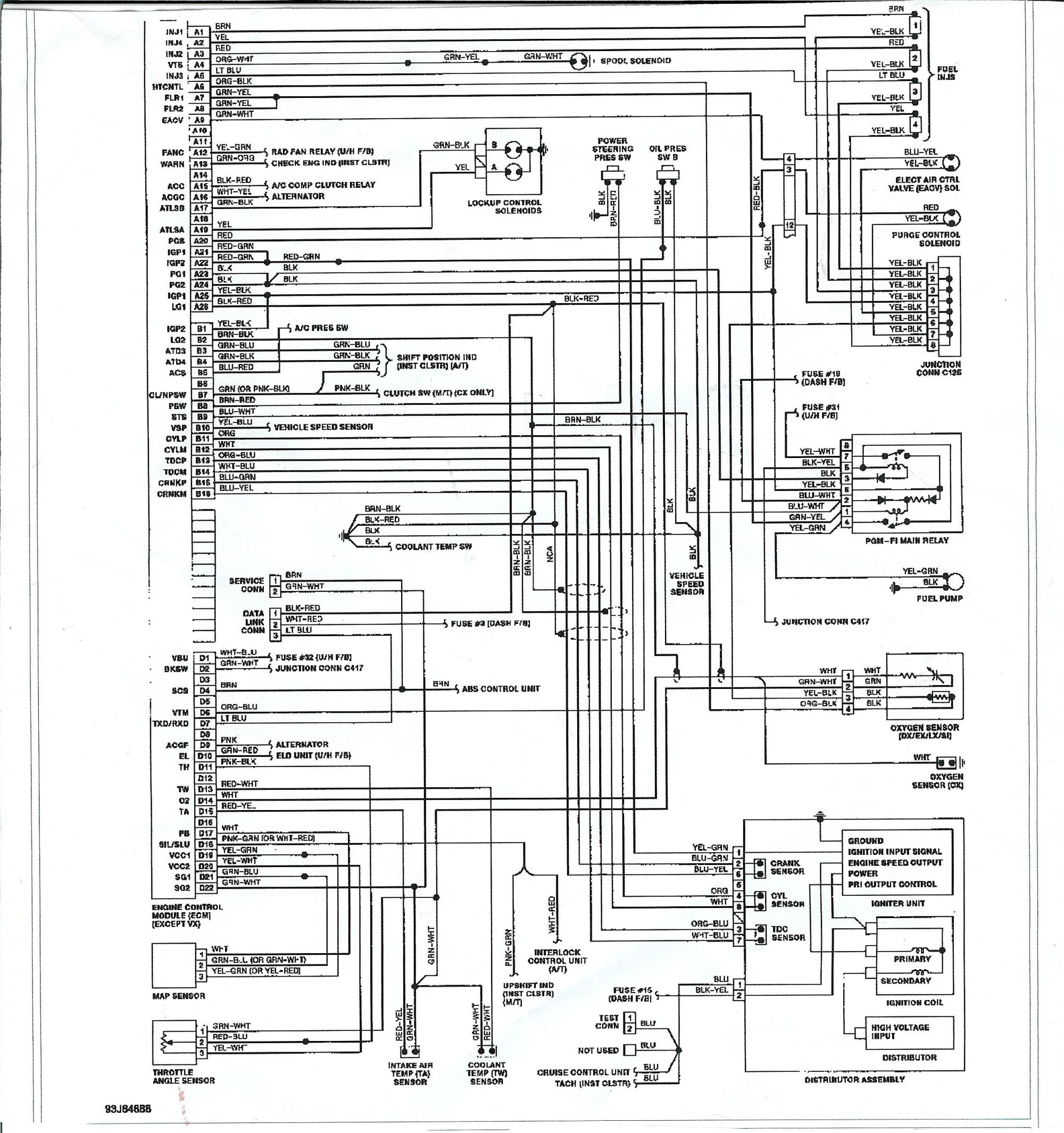 hight resolution of ecu wiring diagram in addition 2000 honda civic fuse diagram on d16z6 engine diagram