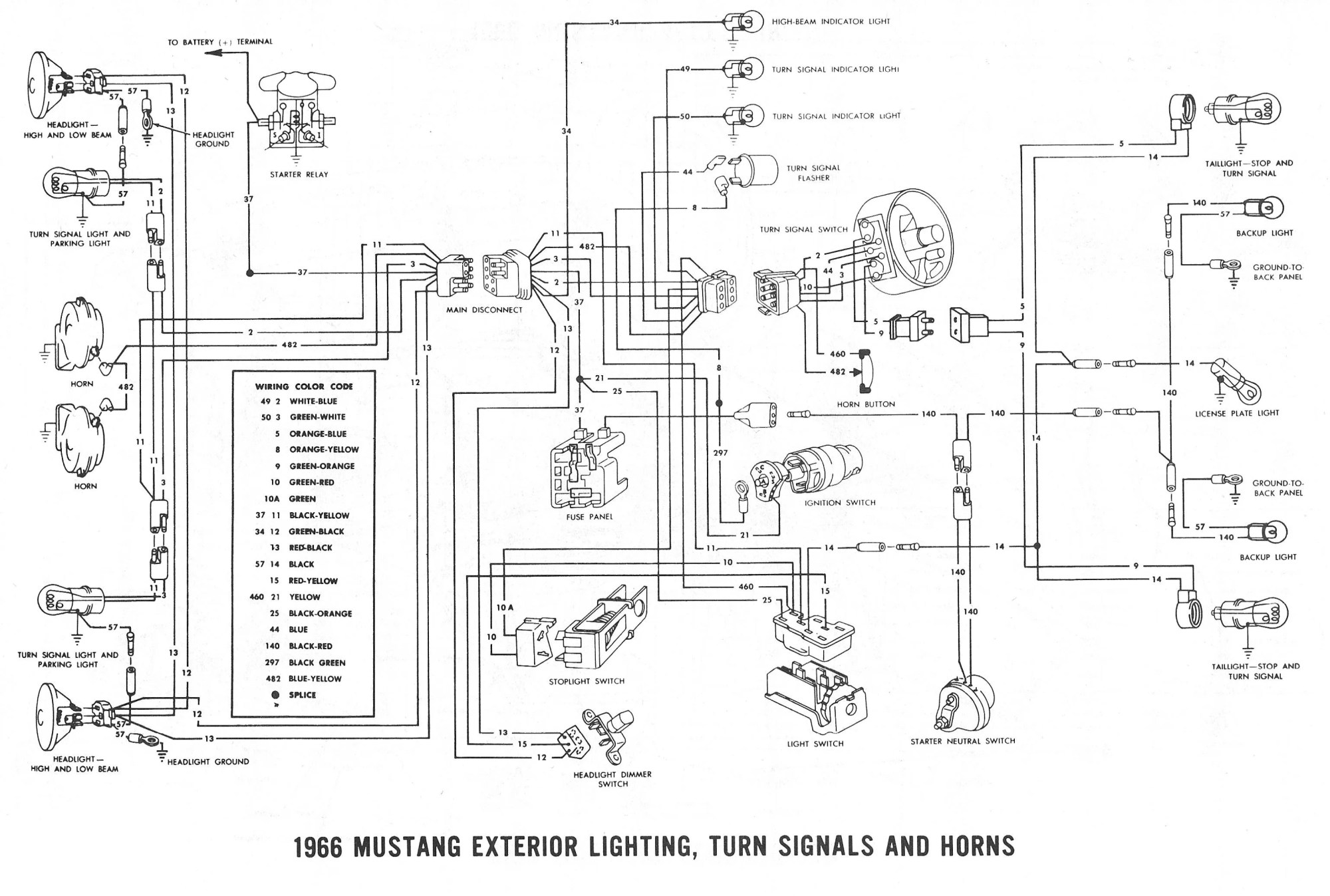 hight resolution of mustang also 1966 chevy ii turn signal switch on chevy horn wiring 1989 ford mustang horn wiring diagram