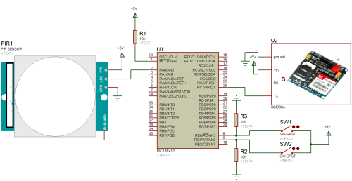 small resolution of home security system using pir sensor and gsm module alarm wire home entertainment system wiring