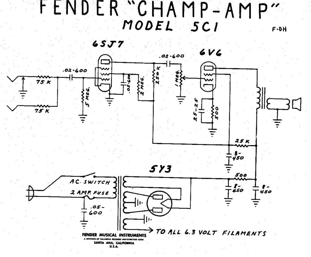 medium resolution of wiring diagram 5c1 tweed fender champ