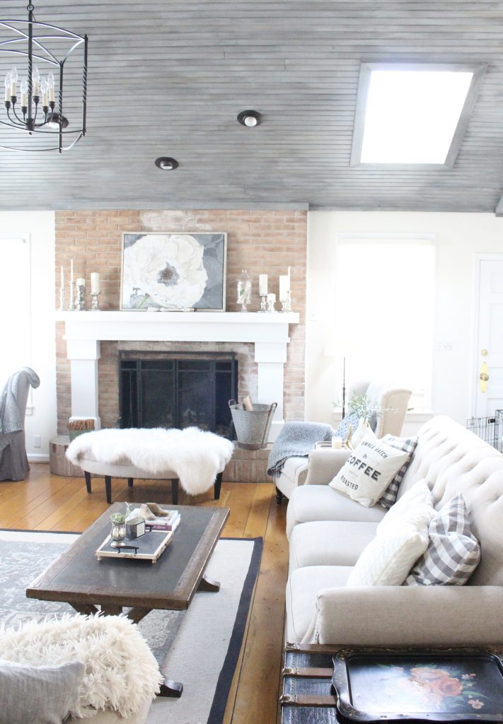 Gray and White Cottage Living Room Dressed for Winter  My Life From Home