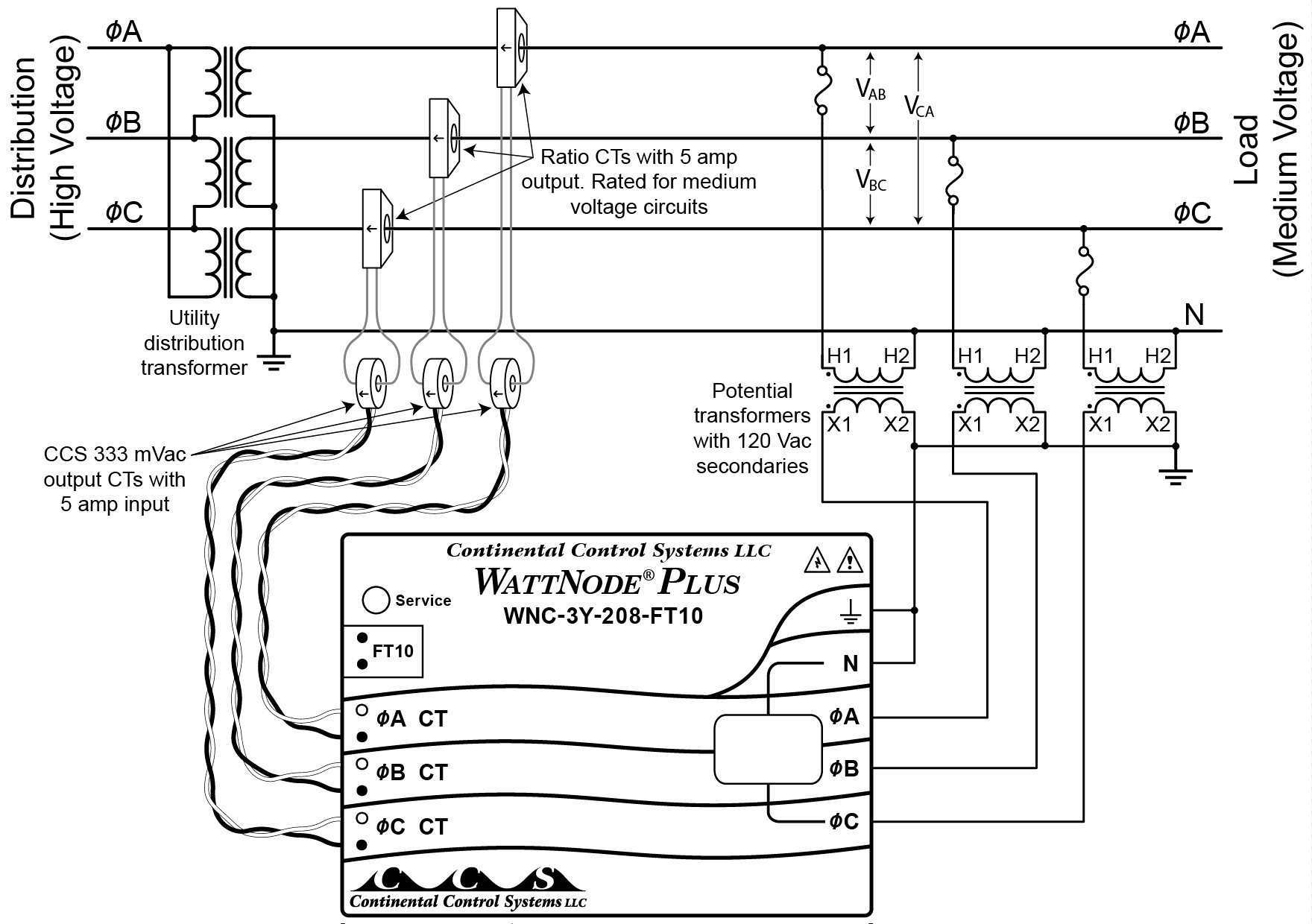 two phase five wire diagram