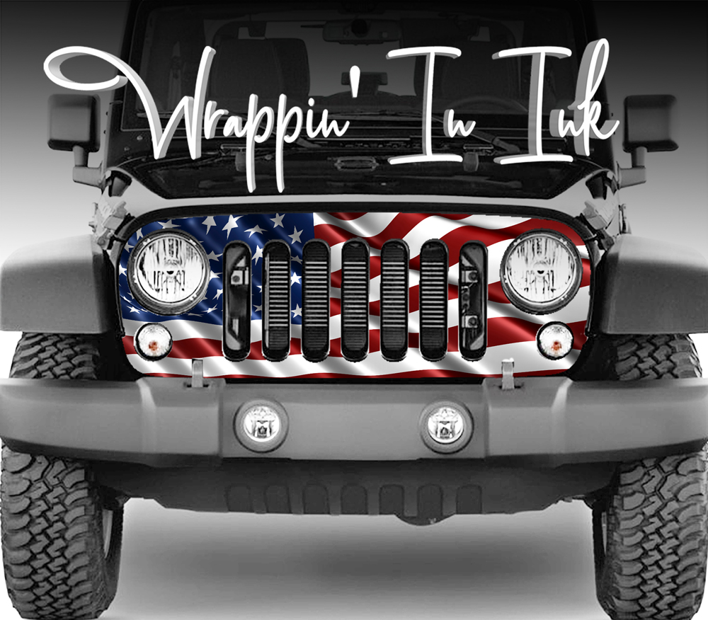 2007 2018 jeep grill wraps waving flag american flag red white blue [ 1000 x 876 Pixel ]