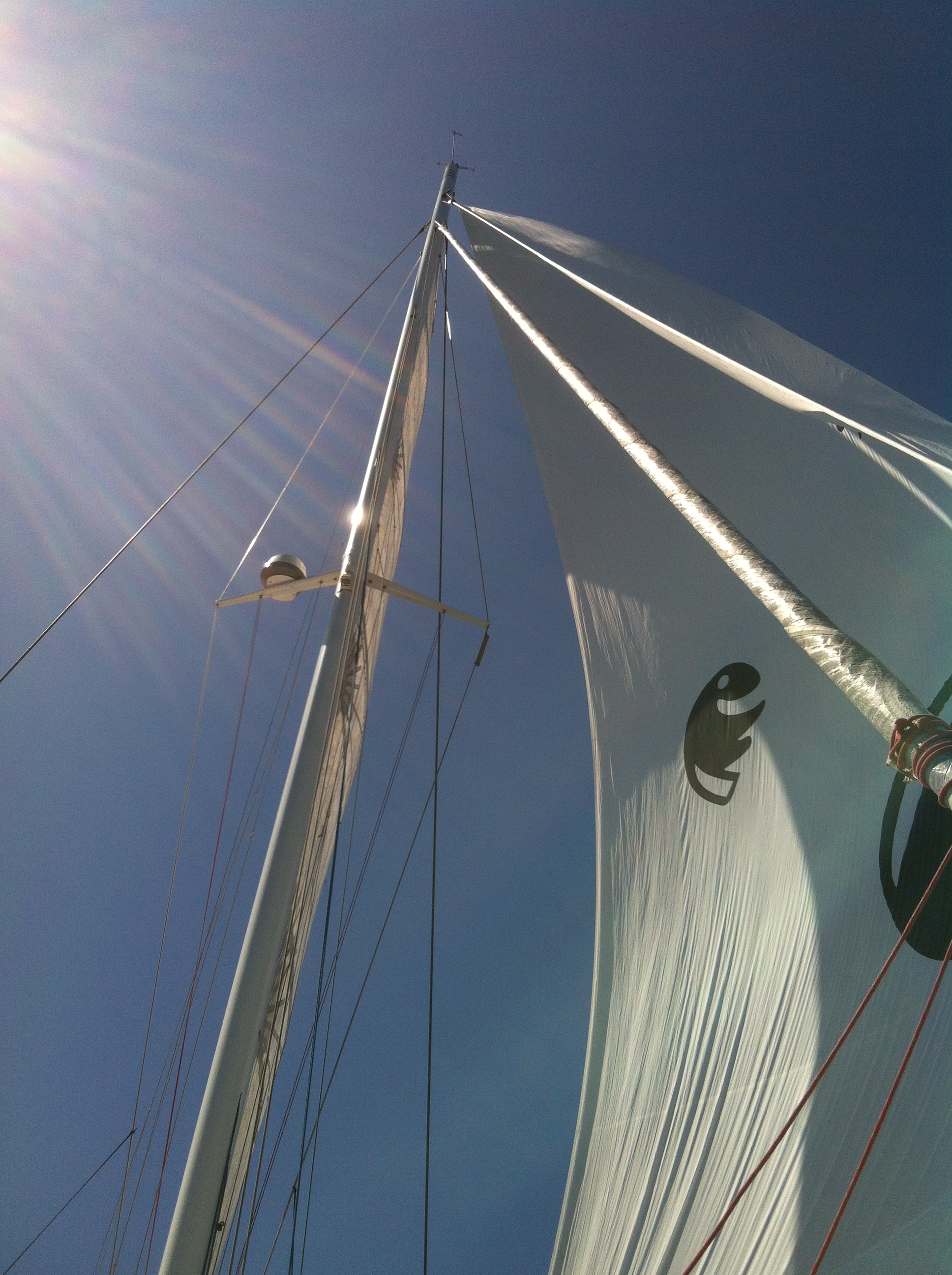 hight resolution of outremer 5x under sail with carbon fiber mast rotated