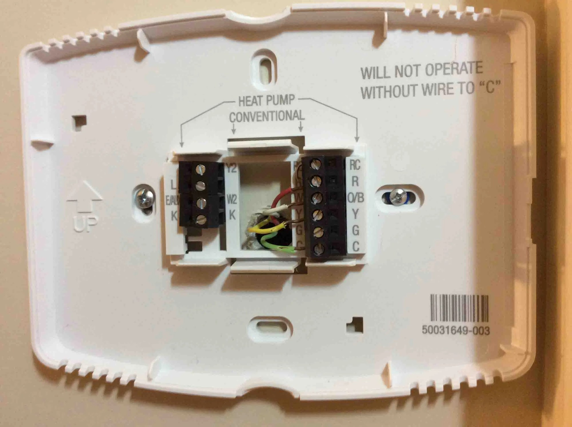hight resolution of honeywell thermostat wiring diagram 4 wire wall plate for a 4 wire smart thermostat installation this one uses the green wire as the c wire instead of the