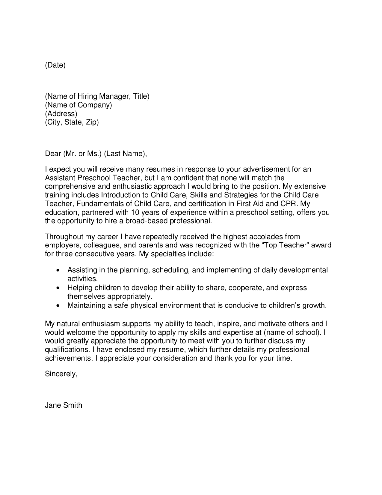 Writing a letter of recommendation instructional aide