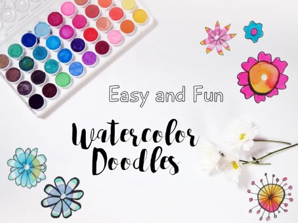 watercolor flower doodles easy