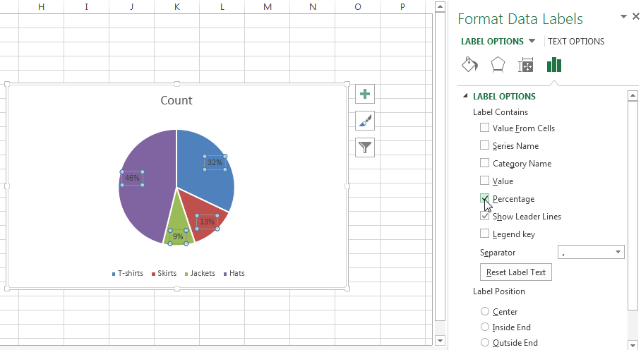 By default the best fit is chosen which means excel chooses position for percentage labels on pie chart also how to show percentages three different charts in board rh