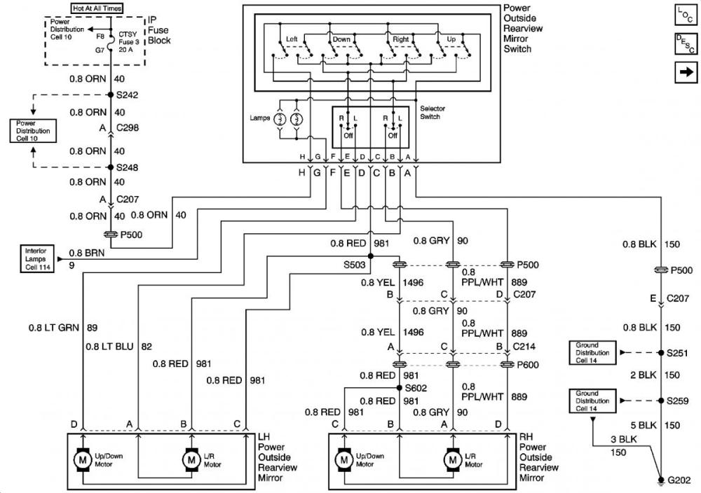 medium resolution of tahoe power mirror wiring diagram