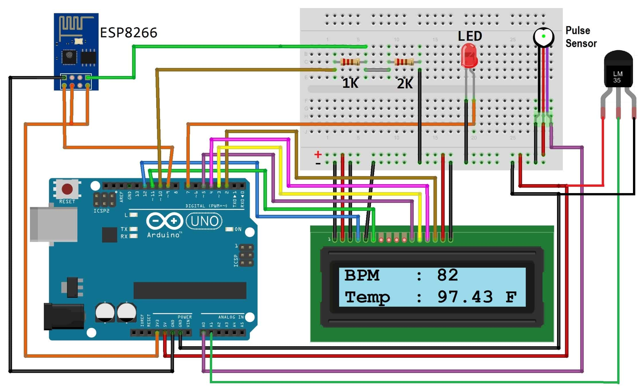 for designing iot based patient health monitoring system using esp8266 arduino assemble the circuit as shown in the figure below  [ 2236 x 1356 Pixel ]