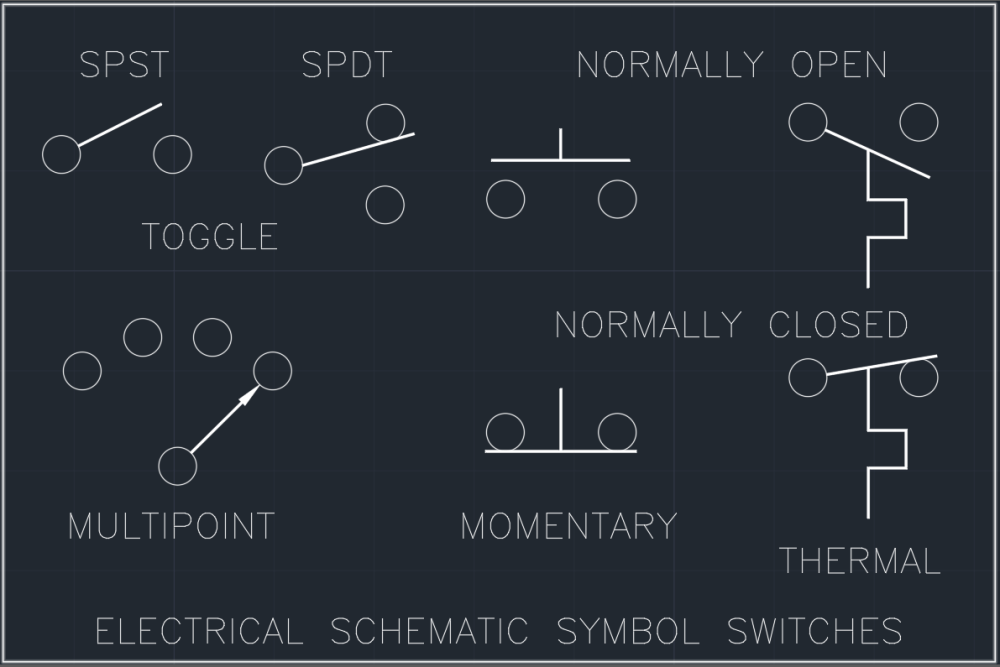medium resolution of electrical schematic symbol switches cad block and typical open switch normally closed switch switch spdt schematic symbols
