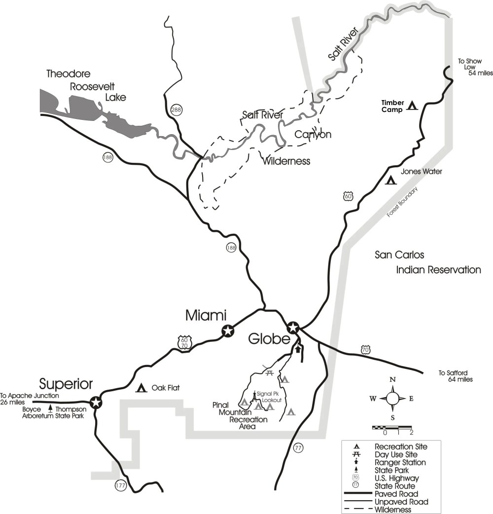 medium resolution of theodore roosevelt lake recreation sites map