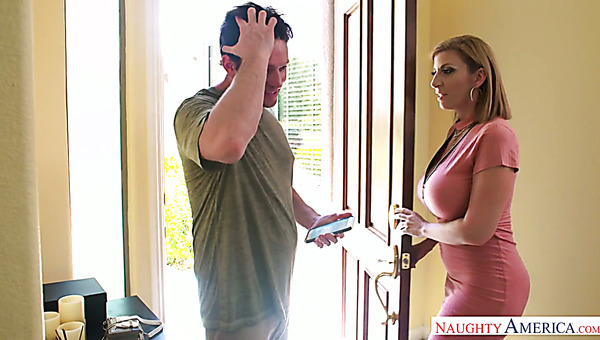 Mega Busty Mommy Sara Jay Gives A Titjob And Bangs One Young Dude