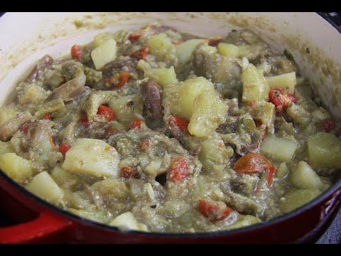 Stewed Eggplant With Potato & Salted Cod #TastyTuesdays | CaribbeanPot.com
