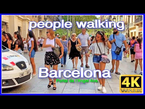 【4K】WALK BARCELONA Spain PEOPLE walking SLOW TV travel vlog