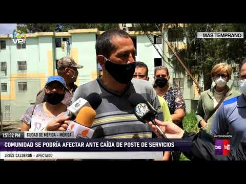Mérida - Comunidad podría verse afectada por caída de poste de Cantv - VPItv