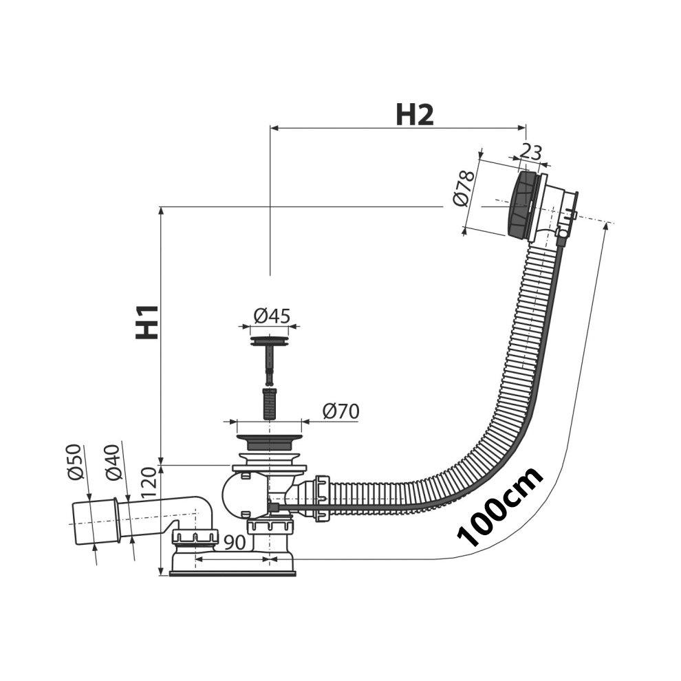 medium resolution of  black powder coated endings bathtub flexible bath overflow waste drain trap 1