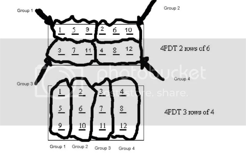 4PDT Switch Layout Questions. (2 rows 6 lugs VS. 4 Rows 3