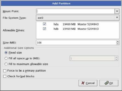 Kotak dialog menentukan sistem file