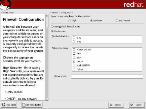 Kotak dialog konfigurasi Firewall