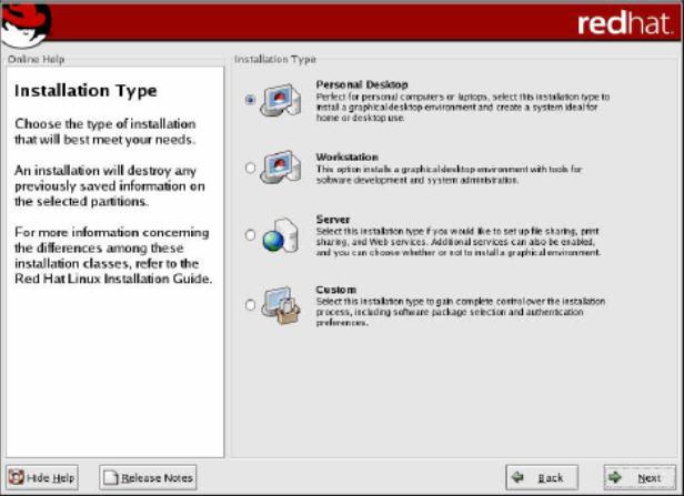 Kotak dialog pilihan jenis instalasi