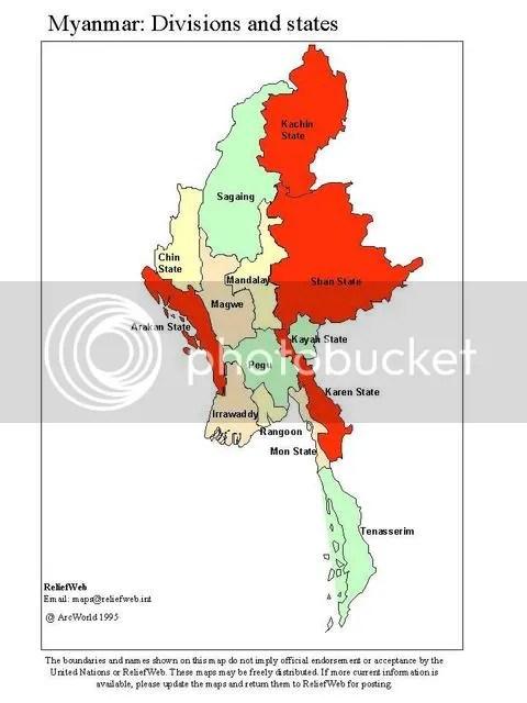 Peta Myanmar & Arakan di barat daya