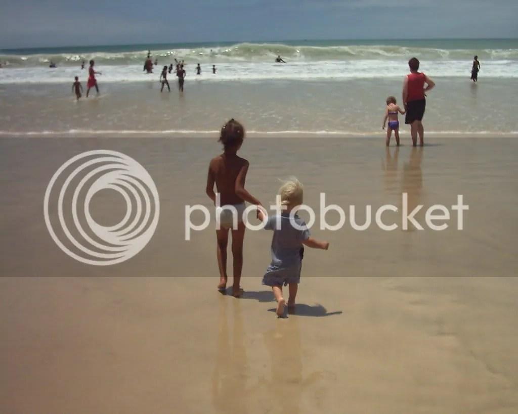 Kai at the beach with Milene